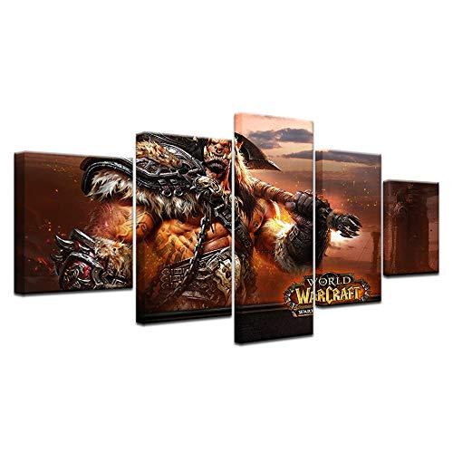 bester Test von warlords of draenor Mehrschichtiges Wandfoto 5-teiliges HD-Leinwanddruck-Gemäldeset Draenor Art Group warlord…
