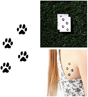Tattify Paw Print Temporary Tattoo - On Track (Set of 2) - Other Styles Available - Fashionable Temporary Tattoos