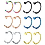 FIBO STEEL 20G 12PCS Stainless Steel Body Jewelry Piercing Nose Ring Hoop 8MM