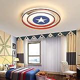 CRJ LED Deckenlampe Dimmbare Deckenleuchte Kinderzimmer Schlafzimmer Wohnzimmerlampe Mädchen Junge Captain America Schild Lampe R&e Deckenbeleuchtung Ø50* 5Cm/55W [Energieklasse A++ ]