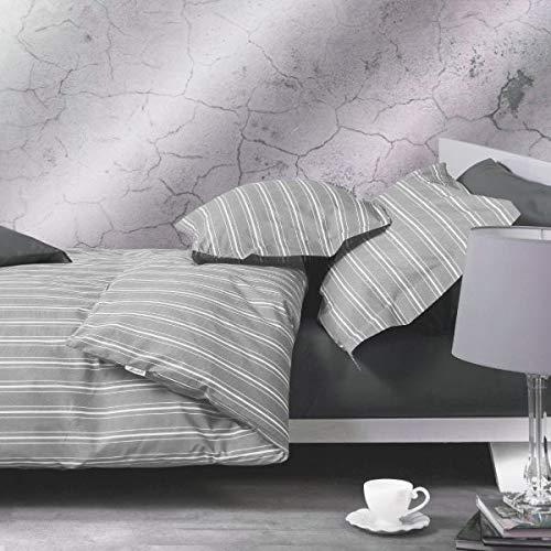 Juego de funda nórdica para cama de matrimonio de percal de puro algodón Mirabello, bolsa + fundas de almohada, art. Oxford