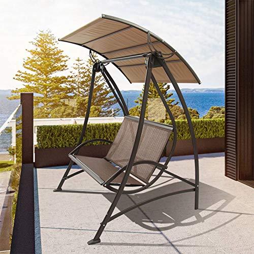 HARUONE Schaukel Garten Sitzliegestuhl Sessel 2-Sitzer, Mit Justierbarem Canopy Für Garten- Und Outdoor-Camping-Von Crystals