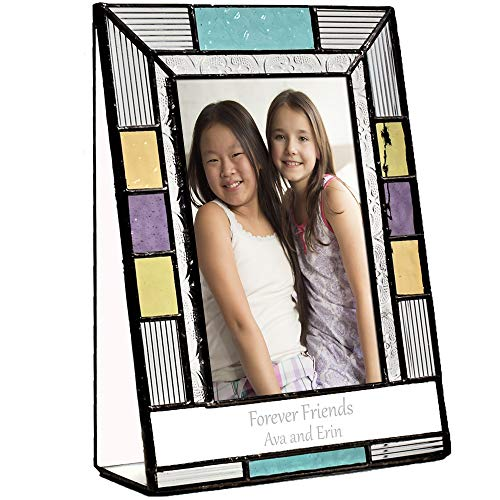 Friends Picture Frame Personalized 4x6 Photo Engraved Keepsake Colorful Stained Glass Home Décor Best Friends Gifts BFF Bestie J Devlin Pic 391-46V EP587 (4x6 vertical)