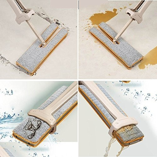 Frashing Dual Action Self-wringing Flipping Flat Mop - Wet & Dry Mopping in 2 side Waschen Flat Mop Wooden Floor Mop Staub Push Mop Home Reinigung Tools