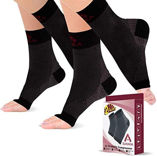 SAMA DILIGENCE Bandage Sprunggelenk, 2 Paar Fußgelenk Bandage für Männer und Frauen zur Fußgewölbe- und Knöchelstützung, Kompressionsstrümpfe Klasse 2 (L-XL, Schwarz)