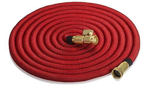 ALL NEW 2017 Strongest Expandable 50-foot garden hose by 5-Star-North. All Brass Fittings with on/off valve. Improved design is 12X stronger than others! Lightweight, Kink Free, easy to use. (Red)