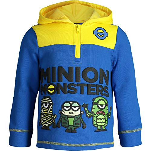 Despicable Me Minions Toddler Boys' Fleece Hoodie Pullover Sweatshirt with Zipper (Blue, 3T)