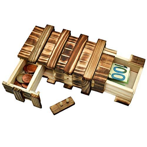 Magica scatola regalo in legno per denaro regalo, scatola grande con 2 scomparti segreti per regali in denaro, buoni, gioielli,