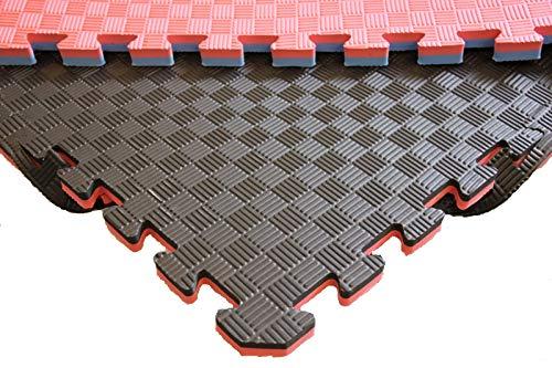 Mugar- Suelo Tatami Puzzle 100x100x2,5cms Negro y Rojo Reversible Esterilla Goma Espuma Estructura