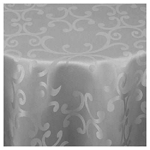 Meine-Tischdecke Damast Rund Maßanfertigung im Milanodesign 140cm Rund in Grau