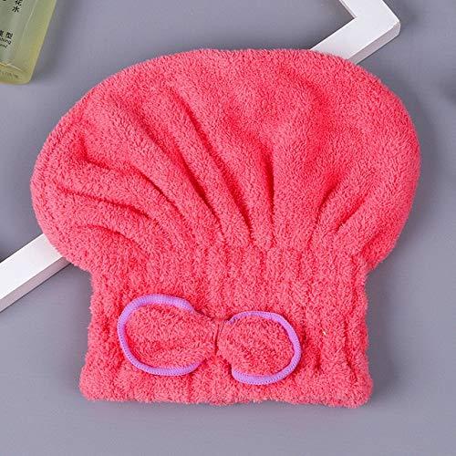 MAWA 6 Colores Microfibra sólido Pelo de Secado rápido Sombrero Turbante para el Cabello Mujeres niñas Gorro de baño Toalla de Secado Sombrero para la Cabeza - de Gules