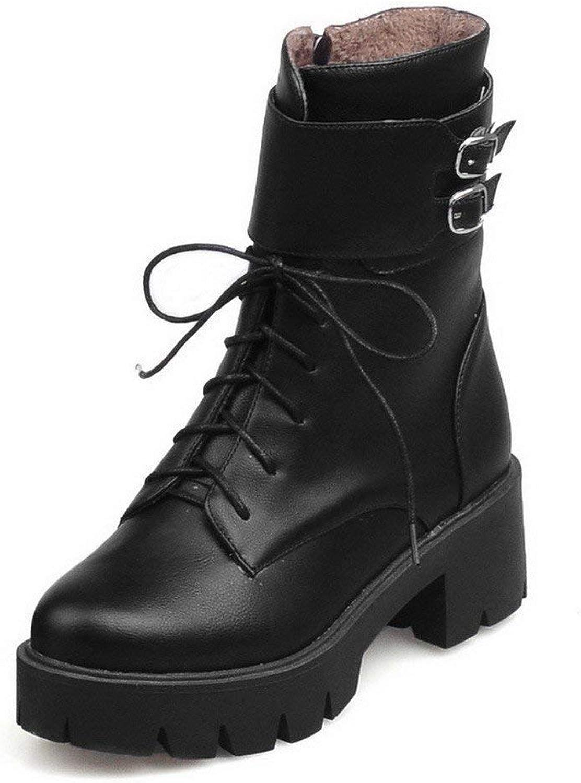 PRETTYHOMEL Women's Zipper Round Closed Toe Kitten-Heels PU Low-top Boots(0 0)