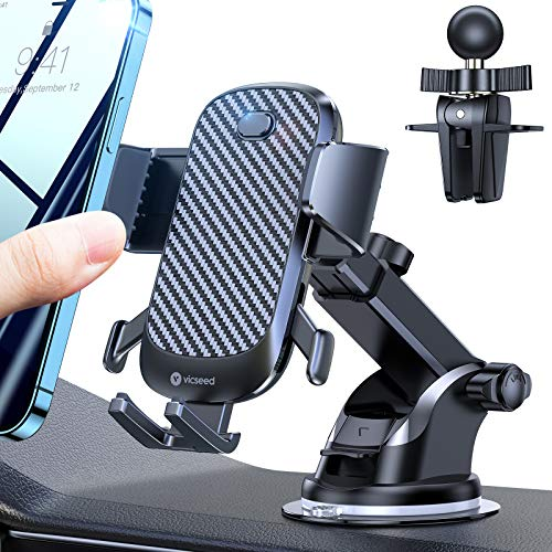 VICSEED Cell Phone Holder for Car Quick Auto Lock Car Phone Holder Mount Hands-Free Dashboard Windshield Air Vent Strong Suction Car Cell Phone Mount Fit for iPhone 12 SE 11 Pro Max Galaxy Note20 Etc.