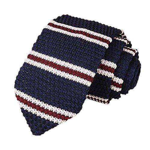 Ansenesna Los Hombres De Punto Crochet Rayas Corbata Boda Fiesta CláSica Corbatas De Cuello (C, 148 * 7 * 4cm/57.2 * 2.8 * 1.6')