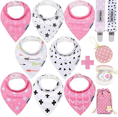 Baberos bandana para bebé de Dodo Babies + 2 pinzas para chupete + estuche para chupete en una bolsa de regalo, paquete de 8 de calidad premium para niñas, excelente regalo para baby shower/registro