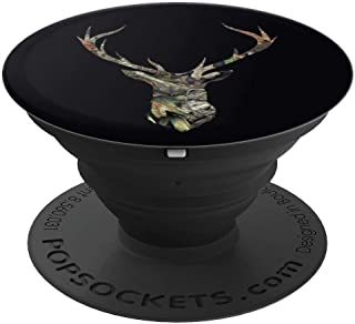Brown Camouflage Black Background Deer Buck Hunting - PopSockets Grip and Stand for Phones and Tablets