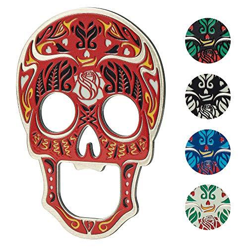 KADAX Apribottiglie, design a forma di teschio, in metallo, apriscatole per feste, casa, birra, soda, apriscatole, calamita da frigorifero (rosso)