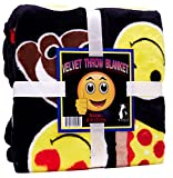 Velvet Emoji Fleece Plush Throw Blanket, Super Soft Large Oversized Cozy Lightweight Emoticon Blanket for Toddlers Kids Teens and Young Adults (50in x 60in)