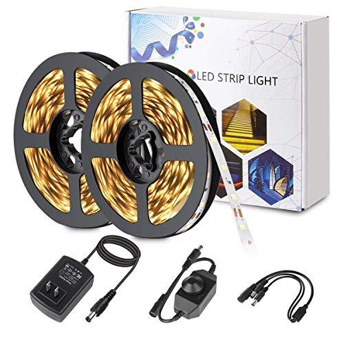 BINZET 32.8ft LED Strip Light Kit, Led Strip SMD2835 Dimmable 600LEDs Flexible LED Light Strip with DC12V 3A UL Listed Power Supply&Brightness Controller for Under Cabinet Mirror Indoor(Blue Light)