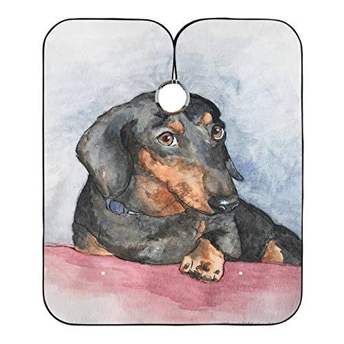 Cabo de peluquería para salón de peluquería, pintura de cachorros de salchicha impresa, cabos de corte de pelo, babero para el salón de casa y peluquería