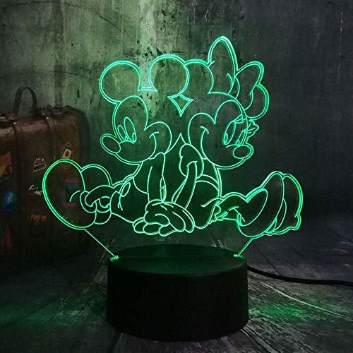 Festival Illusion Night Light 3D Mickey Y Minnie Led Lámpara de Escritorio de Mesa 7 Colores Iluminación de Carga USB la Decoración del Dormitorio para Niños Navidad Halloween Regalo de Cumpleaños