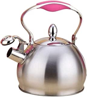 GYSSH 2.5L Stainless Steel Whistling Tea Kettle Coffee Tea Pot Stovetop Induction Home Decoration (Color : Pink)