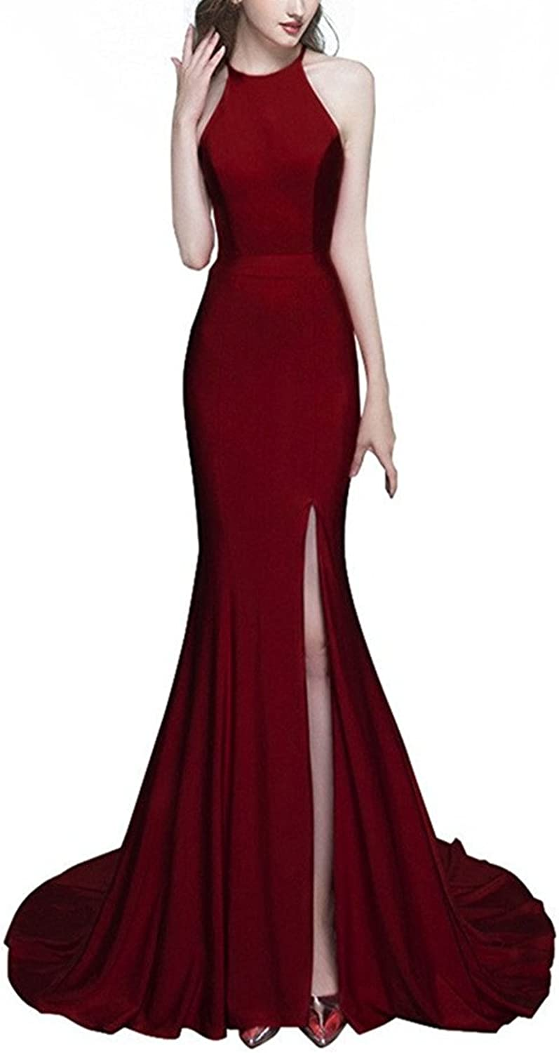 JudyBridal Women's Long Mermaid Split Bodycon Formal Evening Dress Prom Dress