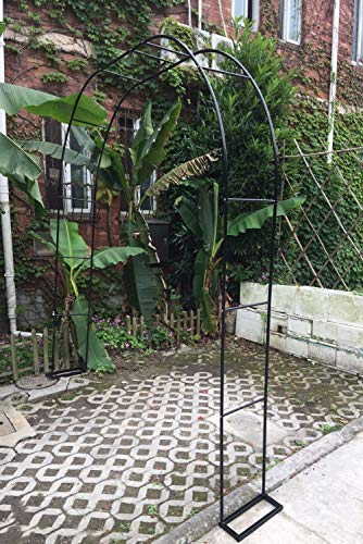 HLMBQ - Soporte de enrejado para jardín (metal, arco de boda, arco de rosa), diseño de rosas para plantas trepadoras, rosas y vides de jardín, patio, color negro 140 x 230 cm)