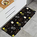 YEASHEER 17.7X47.2 Inch Piece Non-Slip Pineapple Doodle on Olympus Kitchen Mat are Made of Microfiber, Sponge Interlayer, Non-Slip PVC Backing