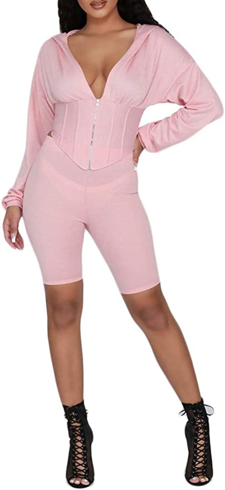 Remelon Womens Deep V Neck Hooded 2 Outfits Piece Special Indianapolis Mall price Romp Jumpsuits