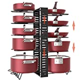 X-cosrack Pot Racks,10 Tier Adjustable Heights with Non-slip feet,6 DIY Methods,Expandable Kitchen Cabinet Pantry Pans and Pots Lid Organizer Rack Holder, Black