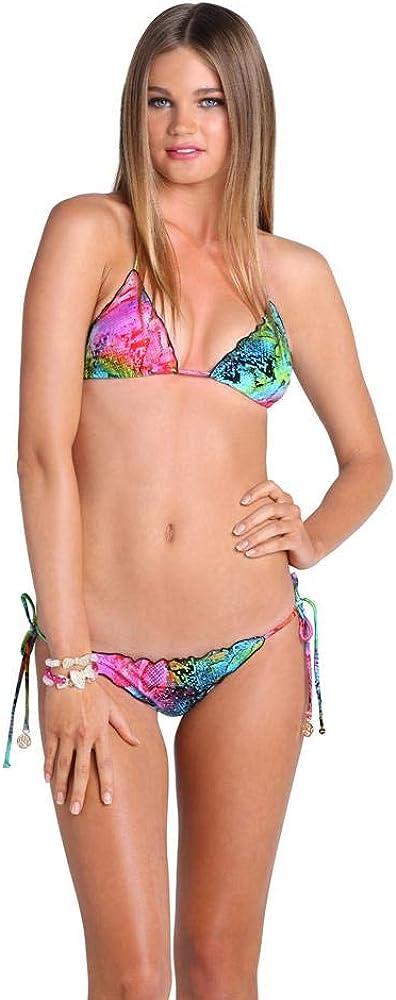 Luli Fama Women's Sea Salt Angel Crystallized Wavy Brazilian Tie Side Ruched Back Bikini Bottom, Multi, Medium