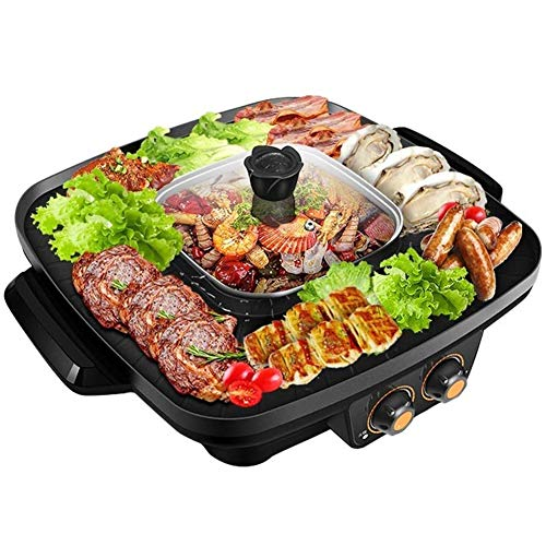 Best Prices! LTLCLZ Barbecue Hot Pot Electric Barbecue Grill Double Pot,Integrated Cooker Pot, 2 in 1 Multi Function Smokeless Non-Stick Grill Pan Hotpot Machine with Adjustable Temperature