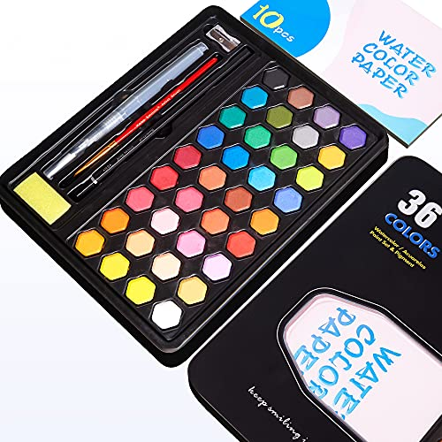 OOKU Watercolor Paint Set - 36 Colors Premium Water Coloring Paint for Kids Students Beginers Hobby   Easy to Mix Colors Travel Watercolor Set   Art Supplies for Water Coloring Book Watercolor Kit