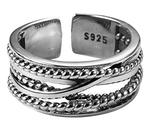 CHXISHOP Anillos de plata de ley 925 para mujer, anillo de plata de ley 925 abierto, ajustable, para regalar a una novia, joyería de plata, talla única