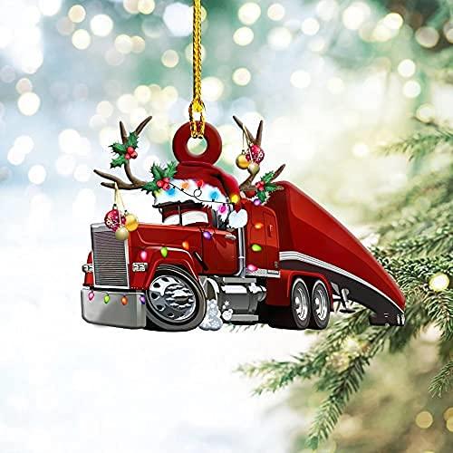 UJIKHSD Adornos Navideños Colgando Navidad Decoraciones para Árboles De Navidad Decoraciones Navideñas Camión De Bomberos De Madera, Helicóptero, Colgante De Combate
