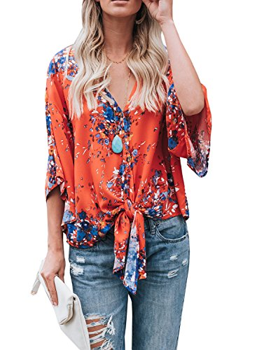 Gemijack Womens Floral Blouses Chiffon Summer Short Sleeve Deep V Neck Tie Front Tops Shirts