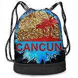 Bolsas de Gimnasia, Bundle Backpacks Gym Drawstring Bags - Casual Women Men School Bag Training Daypack Yoga Pouch, Cancun Mexico Sunset and Palm Trees Beach