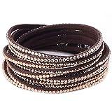 Fabulous Bijoux Bracelet Wrap Slake Cascade Brillant Cristal Zirconium en Cuir de Daim Marron Caffé