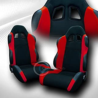 UNIVERSAL JDM-TS BLK/RED CLOTH CAR RACING BUCKET SEATS+SLIDERS PAIR JAP VEHICLE