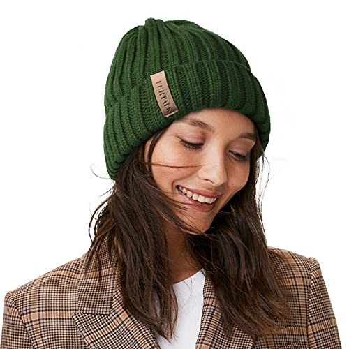 FURTALK Knit Beanie Hats for Women Men Double Layer Cotton Lined Chunky Winter Hat (Pine Green, One Size)