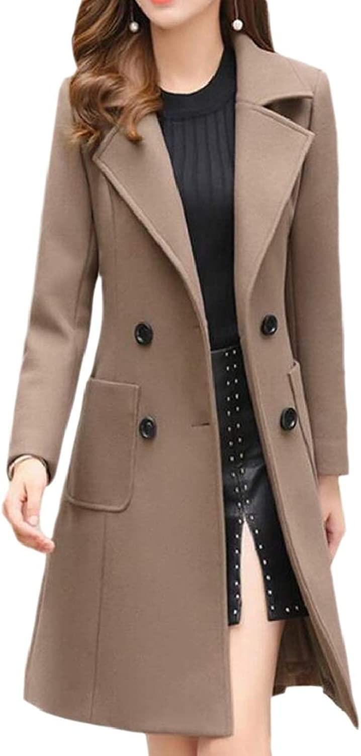 QDCACA Women Cashmere Feel Slim Fit Casual Thickening Trench Coat