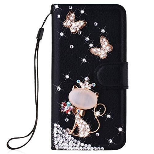 Awenroy Glitzer Hülle für Wiko Y70 Strass Bling Handy Tasche Flip PU Leder Wallet Handyhülle Kartenfach Aufstellfunktion Magnetverschluss mit Stand Funktion - Schwarz