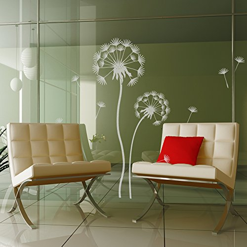 Fensterfolie Pusteblumen Set - Große Blume 100 x 30cm, kleine Blume 70 x 25cm - Farbe: Glasdekor