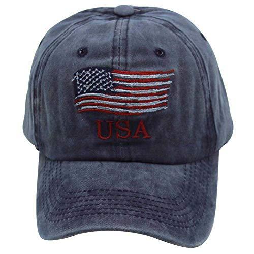GUMONI - Gorra de béisbol con la bandera de EE. UU. azul marino Talla única