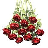 Decpro 12 Piezas de Rosas Artificiales, Flor de Seda de un Solo Tallo Largo de 19.7'' para Ramos de Novia, decoración de Hotel de Oficina, centros de Mesa, arreglos Florales(Borgoña)