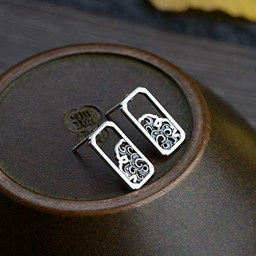 ESCYQ DamenOhrringeOhrsteckerOhrhängerTropfenOhrlinie,S 925 Silber Retro Thai Silber Handwerk Ohrringe Einfache Und Frische Innenvierkant Nanning Weiß Ohrringe
