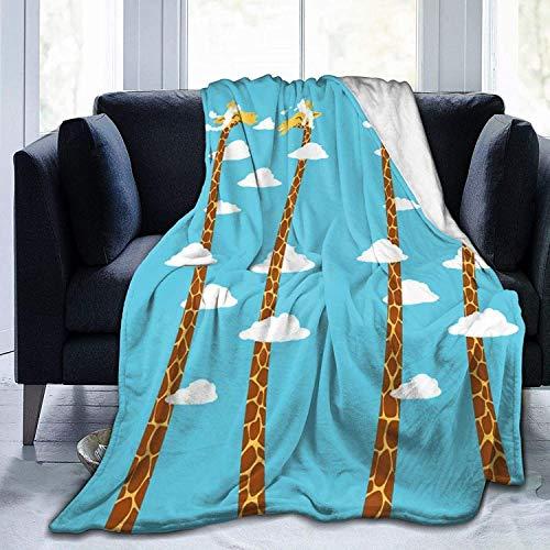 DUTRIX Manta de forro polar de franela de cuello largo con jirafa, no se desprende, manta cálida de lujo, manta de sherpa suave para cama, sofá, coche, color negro, 122 x 106 cm