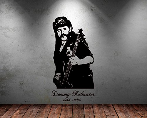 Wandaufkleber / Vinyl-Sticker, großes Fotomotiv von Motorhead-Frontmann Lemmy Kilmister, inkl. Rakel, Schwarz , Large - 113cm H x 58cm W