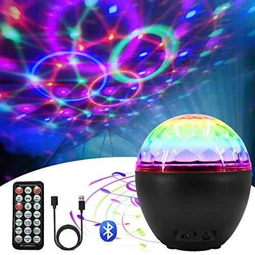 Pulchram LED Discokugel 16 Beleuchtungsform Discolicht Lichteffekte mit USB Kabel Partylicht mit Bluetooth-Lautsprecher Discolampe Deko mit Fernbedienung für Disco DJ Party Geburtstag Dekoration